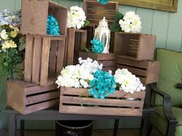 country wedding centerpieces wood crates rustic wedding wedding reception table