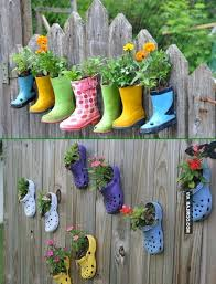 Backyard Fence Decorating Ideas Shoe Planter Garden Fence Decor 20 Backyard Fence Decoration