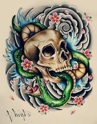 skull and snake tattoo designs snake skull roses and spiderweb