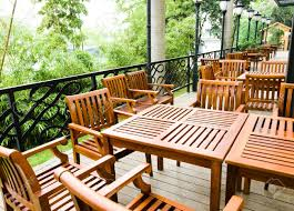 Wooden Patio Furniture House Patio With Wooden Patio Furniture Stock Photo Picture And