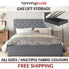 tommy swiss new king queen u0026 double gas lift storage fabric bed