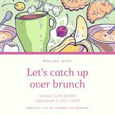 brunch invitation template green and pink illustrated brunch invitation templates by canva