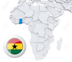 Map Of Ghana 3d Modeled Map Of Africa With Highlighted State Of Ghana With