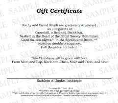 wording for gift certificates sample gift certificate gift