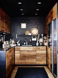 cuisine mur noir unité de mur de la cuisine sous l optique de bois de l armoire