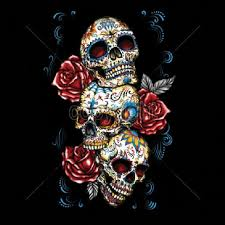 day of the dead three sugar skull with roses womans sleeve t
