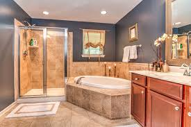 design on a dime bathroom owner s bath sherwin williams outerspace home goods mirror