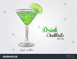 apple martini cocktail vector illustration stock vector 330327944