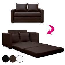 canap convertible marron canapé lit convertible en simili cuir marron noir ou blanc ascota
