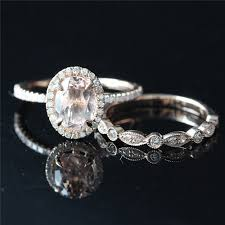 diamond wedding ring sets for morganite bridal ring set of 6x8mm oval morganite pave diamonds