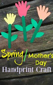 spring flowers mothers day handprint craft for kids