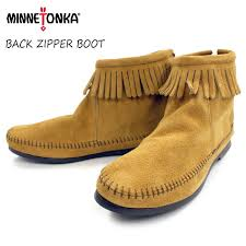 womens boots zipper back footmonkey rakuten global market minnetonka moccasins genuine