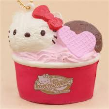 cute kitty vanilla chocolate ice cream cup squishy charm