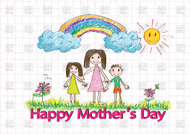 happy mothers day card with kids drawing family vector image