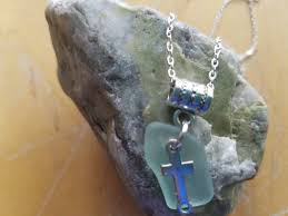 glass cross necklace images Beach glass cross necklace jpg