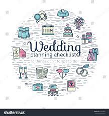 Wedding Decor Checklist Circle Banner Decor Wedding Line Icon Stock Vector 674473600