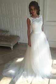 lace top wedding dress white scoop sleeveless tulle sweep wedding dress with