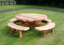 Diy Small Round Wood Park Picnic Table With Detached Octagon Bench by Round Picnic Table With Benches U2013 Vcomimc
