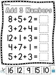 1st grade math worksheets adding three numbers addition practice