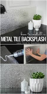 How To Install A Tile Backsplash In Kitchen by How To Install A Metal Ceiling Tile Backsplash Remodelaholic