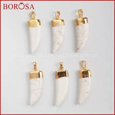 diy stone pendant necklace images Borosa 10pcs gold color elephant tusk white blue howlite stone jpg