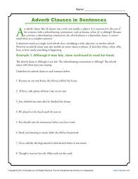 adverb clauses in sentences clause worksheets