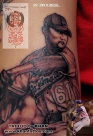 baseball player tattoo by khan tattoonow
