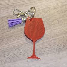 wine glass keychain wine keychain wine lover gift monogram key chain