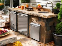 small outdoor kitchen decoration using white wood siding outdoor