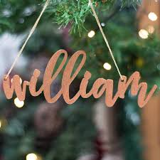 personalised glitter copper christmas tree decorations by bespoke