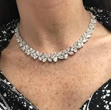 diamonds necklace photos images Pear shape diamond necklace k rosengart diamond melee specialists jpg
