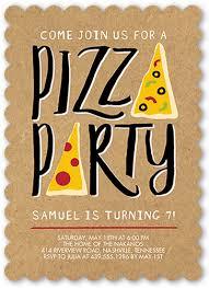 pizza party 5x7 stationery invite boy birthday invitations
