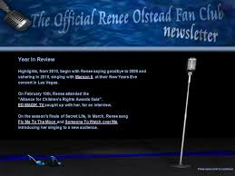 maroon 5 fan club fans welcome to the first renee olstead fan club newsletter our