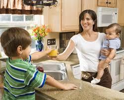 mom and children in kitchen u2014 stock photo iofoto 9305956