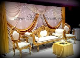 Cheap Table Cloth Rental by Reception Stage Decoration 299 Gold Table Cloth Rent Throne