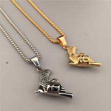 army jewelry trendy gold silver plated gun pistol pendant necklace army jewelry