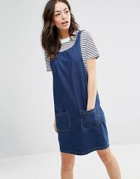 new look new look pocket denim pinafore dress