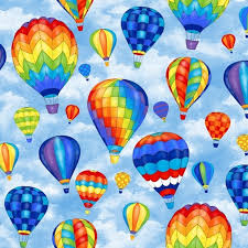 balloon delivery grand rapids mi hot air balloons blue up and away fleece fabric print by the yard