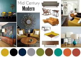 best color scheme mid century modern interior mood board
