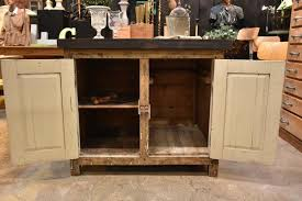 Zinc Kitchen Island - antique rustic french kitchen island with zinc border u0026 two