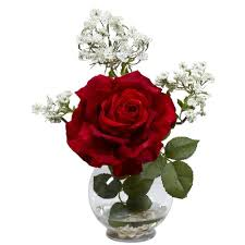 Vase With Roses Nearly Natural 13 In H Red Rose And Gypso With Fluted Vase Silk