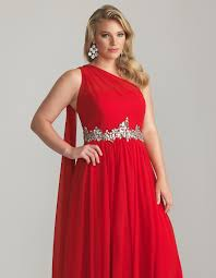 red chiffon one shoulder embellished empire waist plus size prom