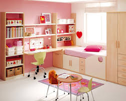design ideas for contemporary white and pink girls bedroom with