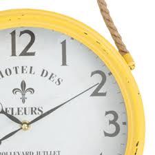 buy l u0027hotel yellow hanging iron wall clock online purely