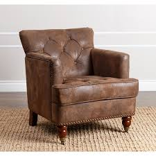 Leather Tufted Chairs Abbyson Tafton Antique Brown Fabric Club Chair By Abbyson High