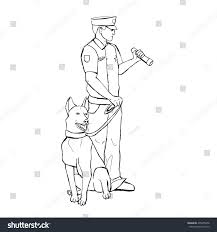 police officer dog hand drawn vector stock vector 435855958