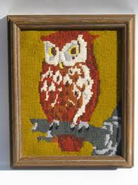 70s retro needlepoint owl picture framed vintage needlework