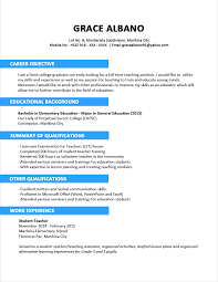 Sample Resume For Teaching Profession For Freshers by Sample Resume Format For Fresh Graduates Two Page Format