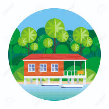 beach house on stilts surrounded by tropical plants round vector