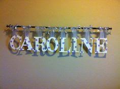 custom hanging wooden letters with rod personalized name nursery